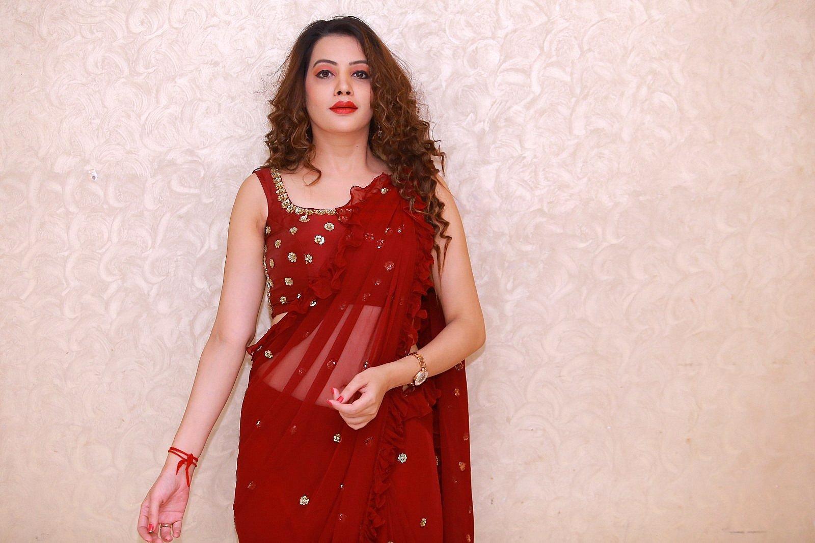 Actress Diksha Panth Red Saree Photos taken at Operation 2019 Pre Release